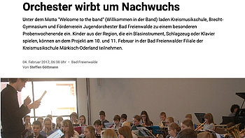 Orchester wirbt um Nachwuchs – MOZ